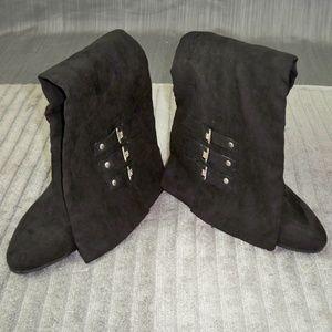 Kathy Van Zeeland Black Buckle Suede Tall Boots